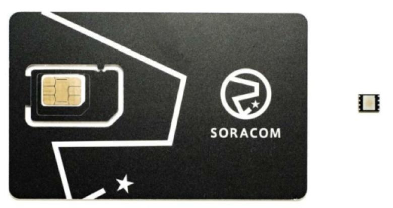 カード型 SIM と チップ型 SIM を並べた様子